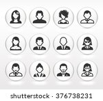 people face set on white round... | Shutterstock .eps vector #376738231