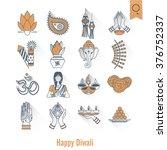 diwali. indian festival icons.... | Shutterstock .eps vector #376752337