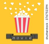 popcorn. film strip ribbon. red ... | Shutterstock .eps vector #376752394