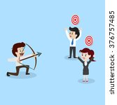 businessman shooting arrow to... | Shutterstock .eps vector #376757485