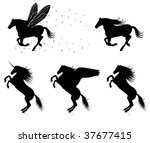 set of vector silhouettes of... | Shutterstock .eps vector #37677415