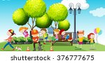 children hanging out at the... | Shutterstock .eps vector #376777675