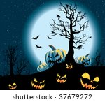 spooky pumpkin patch on a full... | Shutterstock .eps vector #37679272
