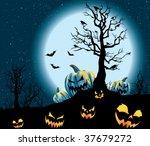 spooky pumpkin patch on a full... | Shutterstock .eps vector #37679272