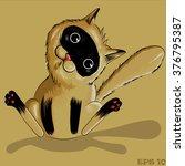 brown cat sitting  surprised ... | Shutterstock .eps vector #376795387