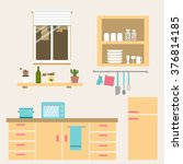 the kitchen room vector... | Shutterstock .eps vector #376814185