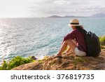 backpack traveler asia woman... | Shutterstock . vector #376819735