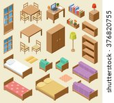 isometric furniture set | Shutterstock .eps vector #376820755