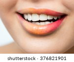 beautiful female lips with... | Shutterstock . vector #376821901