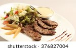 chopped beefsteak with salad...