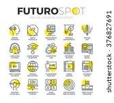 stroke line icons set of... | Shutterstock .eps vector #376827691