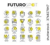 stroke line icons set of... | Shutterstock .eps vector #376827847