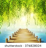 spring background with weeping... | Shutterstock .eps vector #376828024