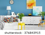 living room interior with white ... | Shutterstock . vector #376843915