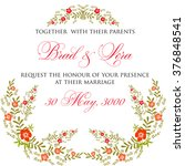 invitation or wedding card with ... | Shutterstock .eps vector #376848541