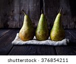 Pears On A Napkin On A Wooden...