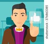 man pressing like button.   Shutterstock .eps vector #376863385