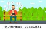 social media network. | Shutterstock .eps vector #376863661