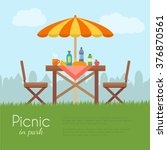 outdoor picnic in park. table... | Shutterstock .eps vector #376870561