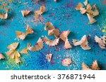 pencil shavings background | Shutterstock . vector #376871944