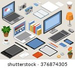 flat isometric vector workspace....   Shutterstock .eps vector #376874305