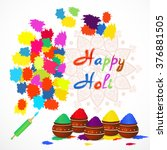 happy holi greeting card with... | Shutterstock .eps vector #376881505
