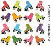 background with roller skates | Shutterstock .eps vector #376886425