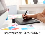 artist drawing on graphic... | Shutterstock . vector #376898374