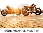 two vintage custom motorbike...