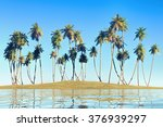 coconut palms on clear blue sky ... | Shutterstock . vector #376939297