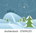 a snowy scene with evergreens ... | Shutterstock .eps vector #37694155