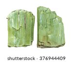 Small photo of Crystal green actinolite it is isolated on a white background