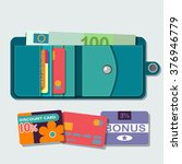 vector opened wallet with cards | Shutterstock .eps vector #376946779