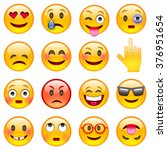 set of emoticons. set of emoji. ... | Shutterstock .eps vector #376951654