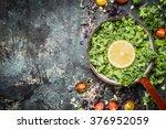 Fresh Kale Leaves With Lemon...