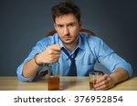 drunk man drinking alcohol at... | Shutterstock . vector #376952854