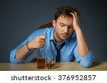 drunk man drinking alcohol at... | Shutterstock . vector #376952857