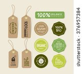 set of organic food tag and... | Shutterstock .eps vector #376957384