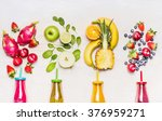 bottles of fruits smoothies... | Shutterstock . vector #376959271