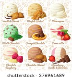 Stock vector set of cartoon vector icons isolated on white background ice cream scoops with different fruit and 376961689