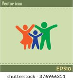 happy family icon in simple... | Shutterstock .eps vector #376966351