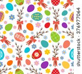 easter seamless pattern with... | Shutterstock .eps vector #376977064