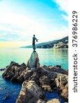 opatija in croatia. sculpture... | Shutterstock . vector #376986229
