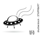 UFO icon (unidentified flying object). Flying saucer spacecraft. Vector illustration - stock vector