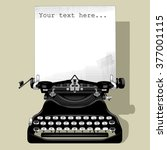 drawing of old typewriter with... | Shutterstock .eps vector #377001115