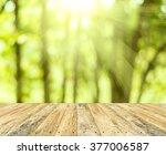 wooden floor and green nature...   Shutterstock . vector #377006587