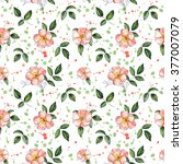 seamless floral pattern with... | Shutterstock . vector #377007079