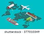 global logistics network flat... | Shutterstock . vector #377010349