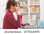 hearing impaired woman working... | Shutterstock . vector #377016595