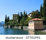 Lake Como from villa Monastero. Italy - stock photo